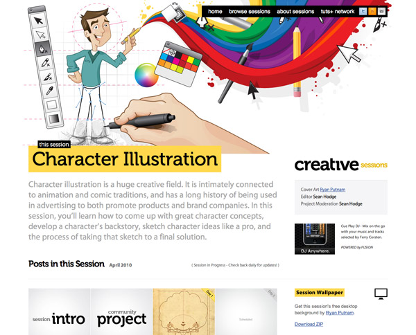 The homepage of Creative Sessions.